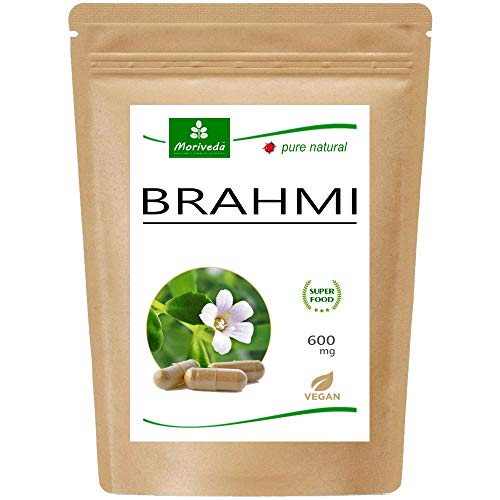 MoriVeda® Brahmi Kapseln l 2 Monatspackung l Gedächtnispflanzen Pulver mit 600mg Kapselgewicht l Vegan und ohne Zusatzstoffe l 120 Stück