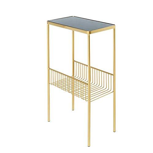 Mesa de cama, Tische Beistelltisch, Endtisch, Magazin-Rack, robustes gehärtetes Glas Nachtständer, dekorativ, für Wohnzimmer, Schlafzimmer, Balkon Couchtisch Farbe: Gold, Größe: 15.747.8727.55in