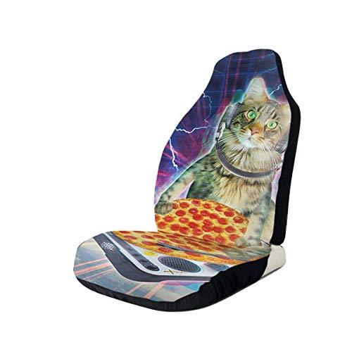 Kat Spelen Pizza DJ Grunge Auto Stoel Cover Voorstoelen Alleen Volledige Bucket Seat Protector Auto Stoel Kussens voor Auto SUV Vrachtwagen Of Van,