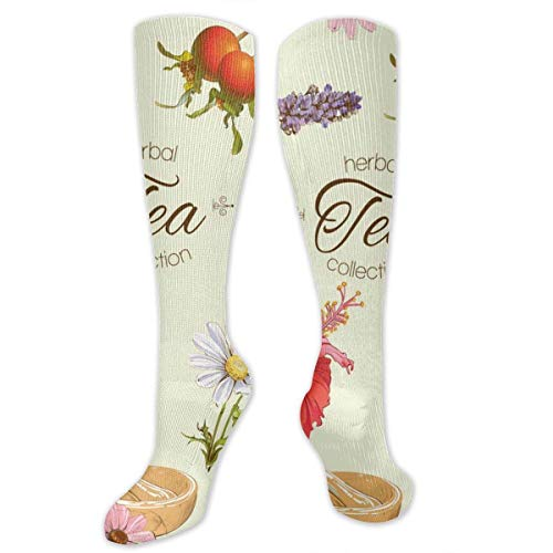 Herbal Tea Fashion Comfortable and Soft Compression Socks for Men and Women Advanced Moisture Wicking Crew Socks for Working Family Sports Dress Or Cosplay,Socks