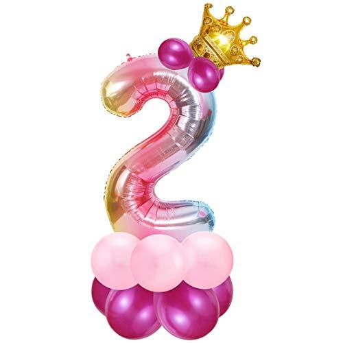 Foil Globo Número 2 Rosa, 2er Cumpleaños Globos, Feliz Cumpleaños Decoración Globos 2 Años Niñas, Arco Iris Globos de Número 2, Globos Numeros para Cumpleaños, Fiesta, Decoración