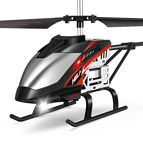 Helicóptero RC, Mini Helicóptero de Aleación con Control Remoto con Giroscopio y Luces LED de 3.5 Canales, Avión Interior y Exterior para Ventiladores de Avión, Juguete de Regalo para Niños niñas