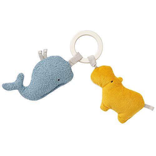 Fehn 056082 Greifling Nilpferd & Wal fehnNATUR – Bio-Babyspielzeug mit Rassel und Raschelpapier für Babys und Kleinkinder ab 0+ Monaten – Größe: 19 cm