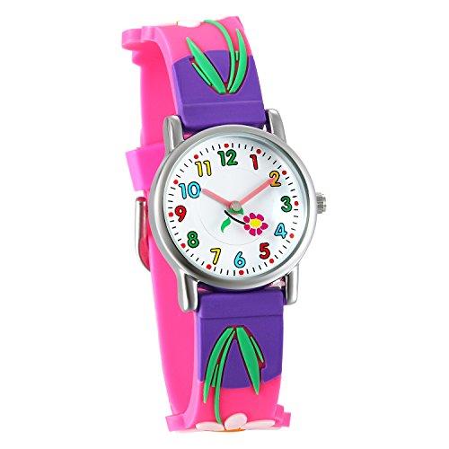 Lancardo 子供腕時計 スポーツウォッチ キッズ 学生 かわいい 防水 カラー数字 シリコンベルト 知育 人気 プレセット 誕生日 記念日 子供の日 ピンク パープル