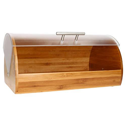 MamboCat Volker chlebak do przechowywania chleba I pojemnik na chleb bambusowy naturalny I pudełko do przechowywania chleba tostowego chleba i chleba na drożdże I chlebak na rolkach ze stali nierdzewnej – uchwyt I duża skrzynka na chleb