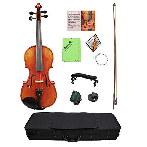 Sunbaca 4/4 Violino Acústico Violino Enfeite De Madeira Frente Placa de Flama Bordo Encosto para Iniciante Estudante Performer com Violino Caso Ombro Resto Sintonizador de Cordas Mudo pano de Limpeza