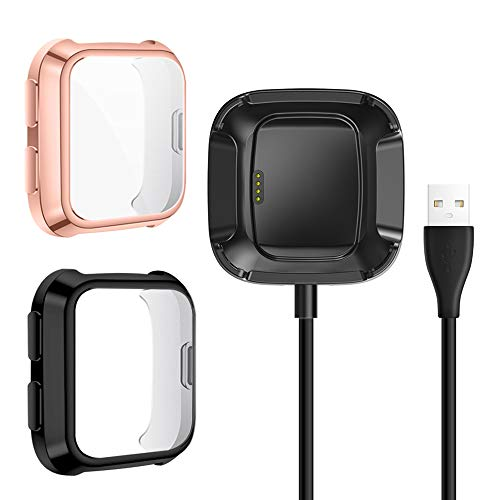 QIBOX Protective Case Plus Charger Compatible with Fitbit Versa, 2-Pack TPU Plated Full Coverage Bumper Case Cover + Exclusive Charging Cable Dock (Charge with Case On)