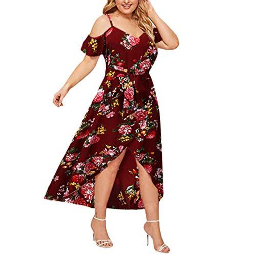 Xmiral Kleid Damen Blumendruck Schulterfrei Schulterfrei Hohe Taille Hohe Taille Saum Übergröße Sommerkleid Kurzarm Chiffon Maxikleid mit Gürtel(Rot,4XL)