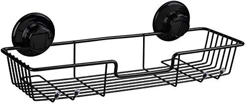SANNO Starke Saugnapf-Duschablage Bad Regal Lagerung Edelstahl-Seifenschalenhalter, mit Saugnapf, Schwamm-Halter für Dusche, Badezimmer (1 Set Schwarz)
