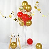 TONIFUL Red Gold Balloon Stand Kit 51'Height Balloon Holder Centerpieces Tower Decoration for Floor with 22 Sticks 13 Cups 1 Base 16 Balloons for Birthday Anniversary Wedding Party Supplies