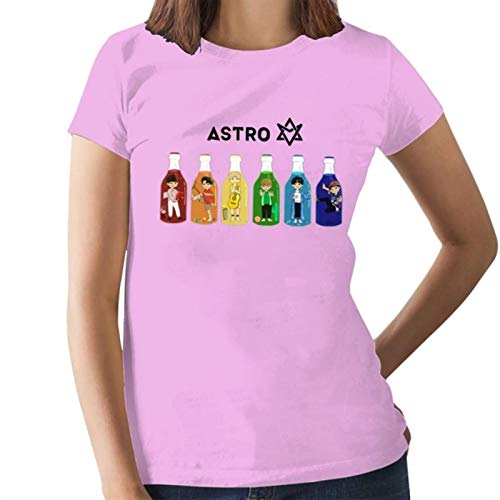Kpop Astro D.Store - Camiseta de manga corta para mujer (talla grande, algodón 100) rosa S