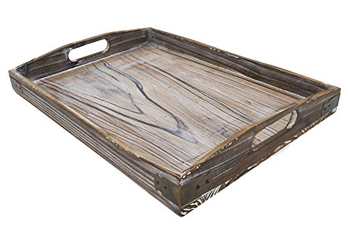 VEIZEDD Rustic Wood Tray with Handles for Ottoman Tray Tea Food Breakfast Kitchen Bed Trays Home Decor Wooden Plate 15.3 x 11 x 1.8 inch
