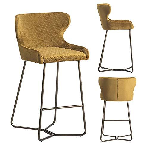 Neptune Barstool, Diamond Stitched Fabric Bar Chair Modern, Brass Effect Leg, Kitchen, Barstool, Velvet Fabric (Mustard)