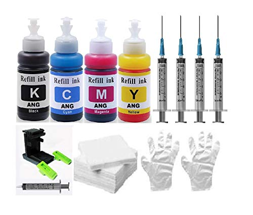 ANG Refill KIT for HP 682 Ink Cartridge for Compatible Ink Jet Printer HP 2135 2138 5085 5075 3635 3636 3835 2675 2676 4535 4675 3775 3776 3777 Black Colour Combo Pack (Full Set)