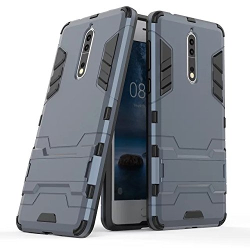 Cover Nokia 8, GOGME [Tough Armor Series] Robusto Pannello Posteriore PC Antigraffio + Paraurti Antiurto TPU+ Pratico cavalletto, Blu Navy