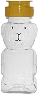 WM (Set of 24) 6 fl oz (8 oz of Honey) Refillable, Reusable, Empty Clear PET Honey Bear Plastic Bottles w/Yellow Caps. Used for Honey, Juice, Arts & Crafts and More