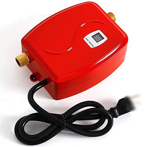 Elektronischer Durchlauferhitzer Tankless 3800W 220V, Instant-Warmwasserbereiter mit Schutzmaßnahmen, Nahtlose Heizung für Bad Küche Waschen Küchenwaschhahn (Rot)
