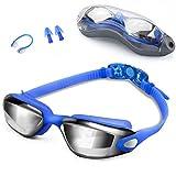 Zerhunt zwembril voor volwassenen en kinderen | Anti-condens-coating | UV-bescherming en goede zichtbaarheid onder water | 3D Memory Silicone met ergonomisch design garandeert goede afdichting | Flexibele en comfortabele neusbrug | Inclusief etui met oordopjes en neusklemmen | EU Design Patent merk