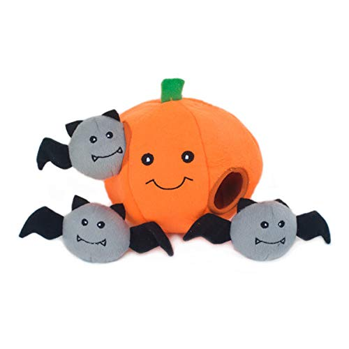 ZippyPaws Halloween Burrow Interactive Dog Toys - Hide and Seek Dog Toys and Puppy Toys, Colorful Squeaky Dog Toys, and Plush Dog Puzzles, Pumpkin with Bats