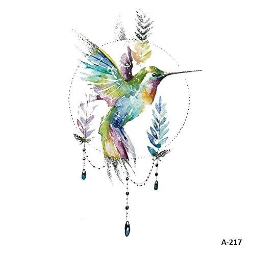WYUEN 5 Blätter Aquarell Vögel Kolibri Fake Tattoo Wasserdicht Temporäre Tätowierung Aufkleber für Frauen Männer Körperkunst 9,8X6 cm FA-217