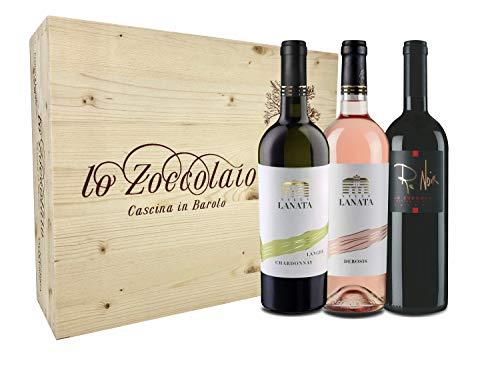 Lo Zoccolaio Cassetta Legno Villa Lanata Chardonnay + Villa Lanata Piemonte Rosato + Lo Zoccolaio Pinot Nero Renoir - Pacco 3x 750ml