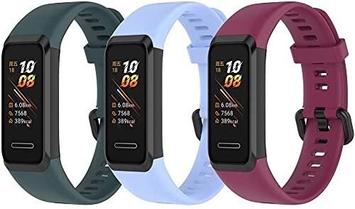 Gransho Repuesto de Correa de Reloj de Silicona Compatible con Huawei Band 4 / Honor Band 4, Caucho Fácil de Abrochar para Relojes y Smartwatch (3-Pack I)