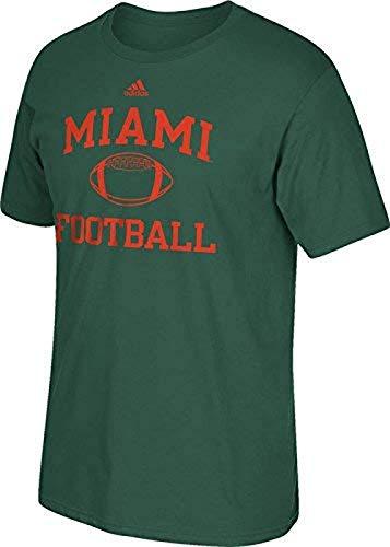 adidas Miami Hurricanes Verde Oscuro Collegiate de fútbol Deporte Camiseta, Hombre, Verde Oscuro