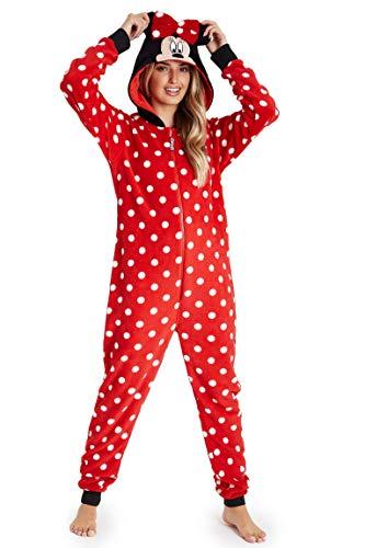 Disney Minnie Mouse Pijamas Mujer de Una Pieza, Pijama Mujer Invierno con Capucha, Pijama Entero Mujer Forro Polar, Regalos para Mujer y Adolescente Talla S-XL (Rojo, S)