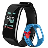 Fitness Tracker,Activity Tracker Watch with Heart Rate Blood Pressure Blood Oxygen Monitor,Waterproof Smart Fitness Band with Step Counter,Calorie Counter,Sleep Monitor for Kids Women and Men (skyb)