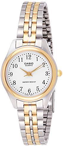 Casio Ltp-1129G-7Brdf Women's White Dial Two Tone Base Metal Watch