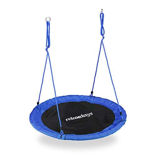 Relaxdays Columpio Jardín Nido de Altura Ajustable para Niños y Adultos, hasta 100 kg, Azul, ø 110 cm, Juventud Unisex