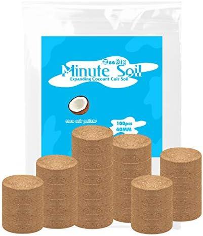 ZeeDix 100 Pcs 40mm Compressed Coco Coir Fiber Potting Soil Seed Starters Organic Coco Coir product image
