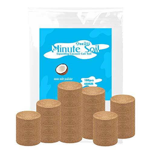 ZeeDix 100 Pcs (40mm) Compressed Coco Coir Fiber Potting Soil Seed Starters - Organic Coco Coir Pellet Fiber Soil for Planting Bonsai, Herbs, Plants, Flowers and Vegetables
