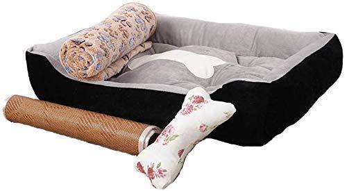 ZJN-JN Suede Dog Bett, Quadratisch Gepolsterte Schlaf Haustier Kissen, weiche waschbare gleitsicheres-D M Pet Supplies Betten
