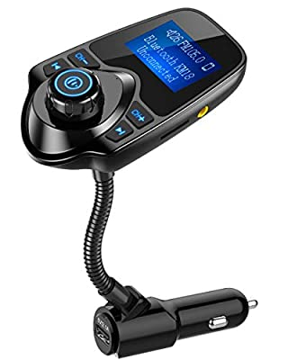 Nulaxy Bluetooth Car FM Transmitter Audio Adapter Receiver Wireless Hands Free Car Kit W 1.44 Inch Display - KM18 Black by Nulaxy