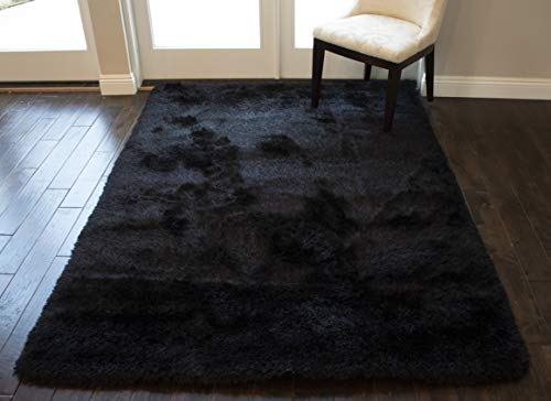 Indoor Bedroom Living Room Solid Plush Pile Shag Shaggy 8x10 Feet Area Rug Carpet Rug Modern Contemporary Decorative Designer Polyester Made Canvas Backing Hand Woven Fluffy Fuzzy Furry Canvas Back