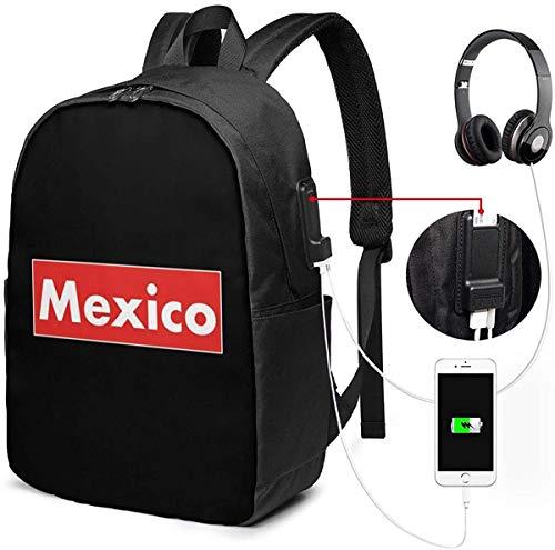 Llynice México - Mochila para portátil (USB, 17 pulgadas)