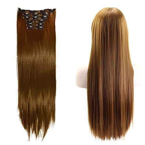 24 pouces (61cm) Extension Cheveux Naturel a Clip,6 Pcs Extensions de Cheveux Humains à Clips-100% Human Hair Extension Clip