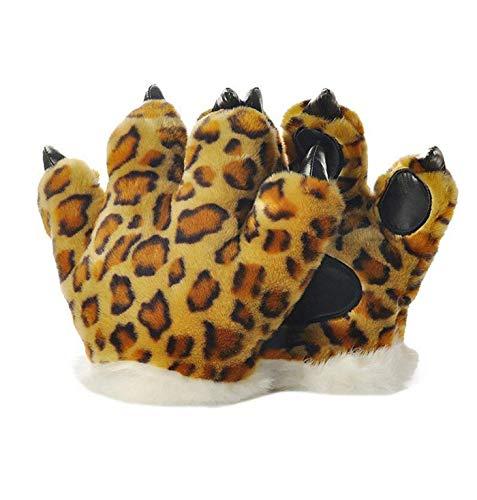 LANFIRE Tierpfote Klaue Hand Handschuhe Fluffy Künstliche Tiger Pfote Handschuhe Leopard claw dinosaurier klaue bär claw Handschuhe Party Bühne Leistung Kostüm Für Kinder Erwachsene (Gepard)