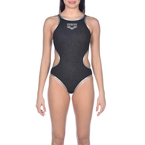 ARENA Costume da Bagno da Donna One Snake, Donna, Costume Intero, 002477, Nero-Argento, 44