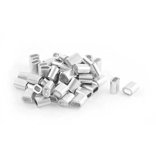 sourcing map 50 Stück Ovale Aluminium Hülsen Klemmen für 2 mm Drahtseil Press Klemme