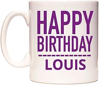 Happy Birthday Louis (Plain Purple) Taza por WeDoMugs®