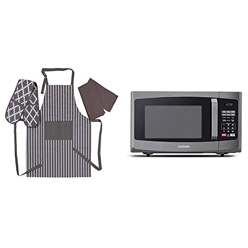 Toshiba 800 w 23 L Microwave Oven with Digital Display, Auto Defrost, One-touch Express Cook with Penguin Home Apron, Double Oven Glove and 2 Kitchen Tea Towels Set - Grey