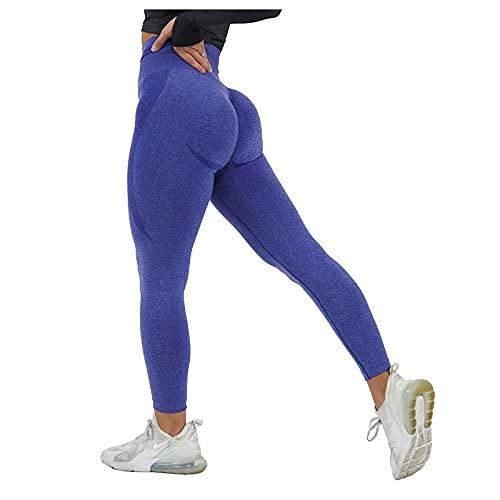 Pantalones Deportivos Mujer de Color Sólido Leggings Cintura Alta Reducir Vientre Leggins de Levante los Cadera Pantalón Transpirables Elásticos Mallas de Yoga para Correr Gym Fitness