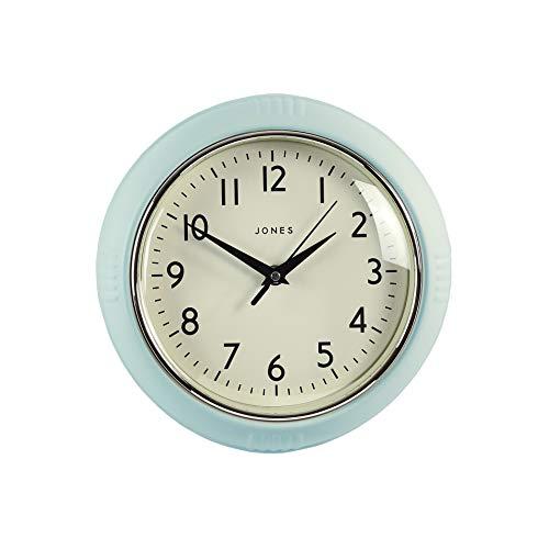 JONES CLOCKS Reloj Ketchup Retro Reloj de Pared con Caso de Colores, Cocina del hogar Comedor Comedor Oficina 25cm (Azul Claro)