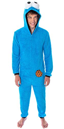 Sesame Street Adult Unisex Cookie Monster Costume Sherpa One-Piece Union Suit Pajama Onesie for Men and Women (SM/MD)