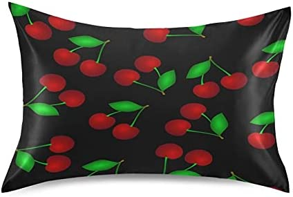 TropicalLife Meetutrip Cherry Fruit Black Los Angeles Max 77% OFF Mall Pillowcas Satin Leaves