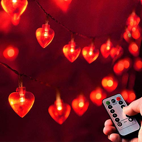 Homeleo 25ft 50 LED Heart Shaped String Lights for Valentines Day Decorations Mothers Day Party Bedroom Classroom Decorations Anniversary Decor Princess Girls Play Tent Decoration