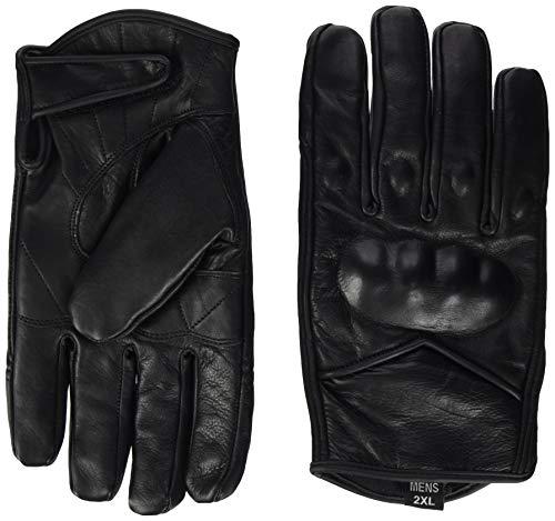 Bikers Gear - Guanti Corto Harley Cruiser in pelle nera con rivestimento termico, Nero, M