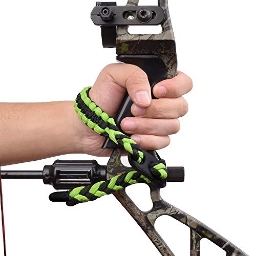 Yls Bow Slings Archery Wrist Sling Compound Bow Easy Carry Adjustable for Hunting Shooting Green